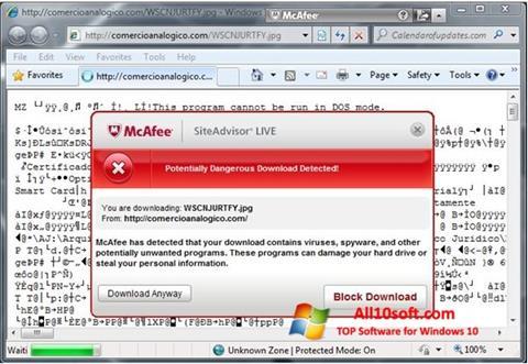 Screenshot McAfee SiteAdvisor Windows 10