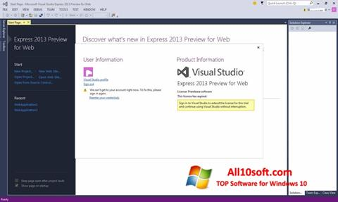 Screenshot Microsoft Visual Studio Windows 10