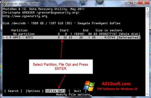Screenshot PhotoRec Windows 10