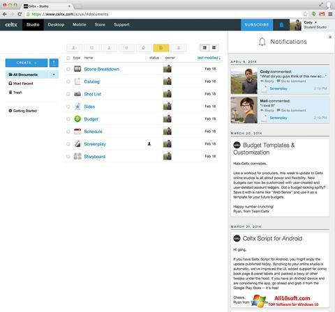 Screenshot Celtx Windows 10