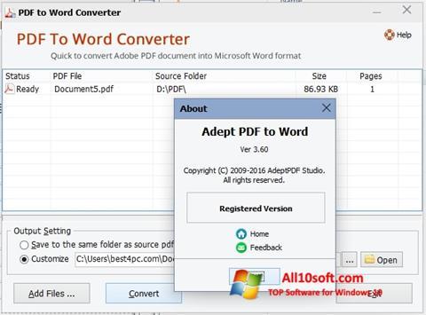 Screenshot PDF to Word Converter Windows 10