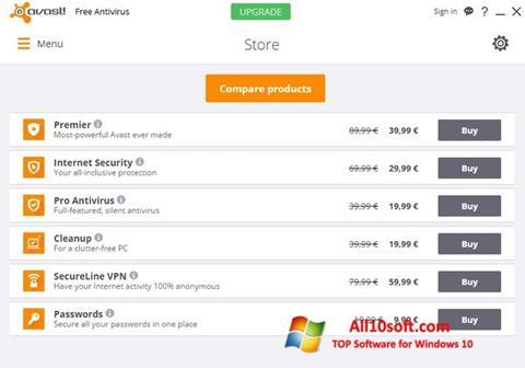 Screenshot Avast Free Antivirus Windows 10