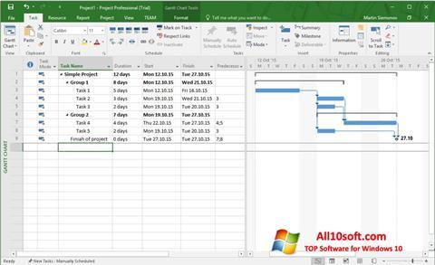 Screenshot Microsoft Project Windows 10