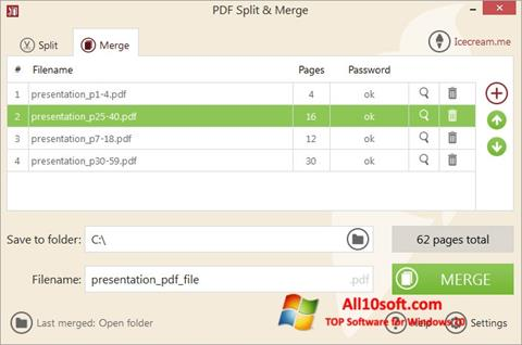 Screenshot PDF Split and Merge Windows 10