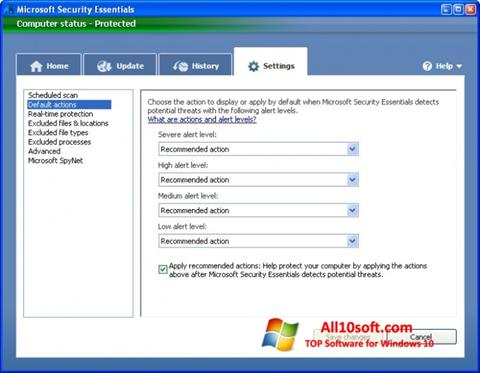 Screenshot Microsoft Security Essentials Windows 10