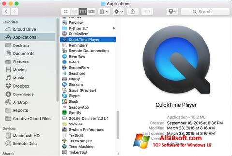 Screenshot QuickTime Pro Windows 10