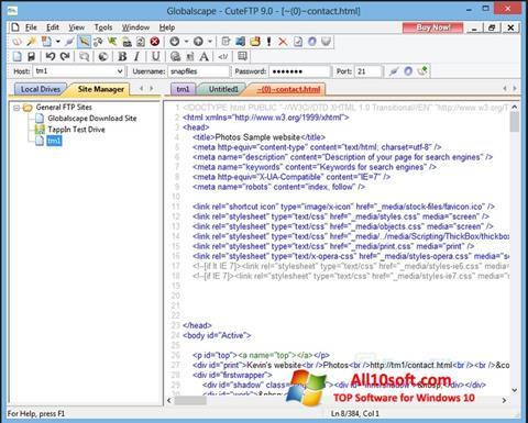 Screenshot CuteFTP Windows 10